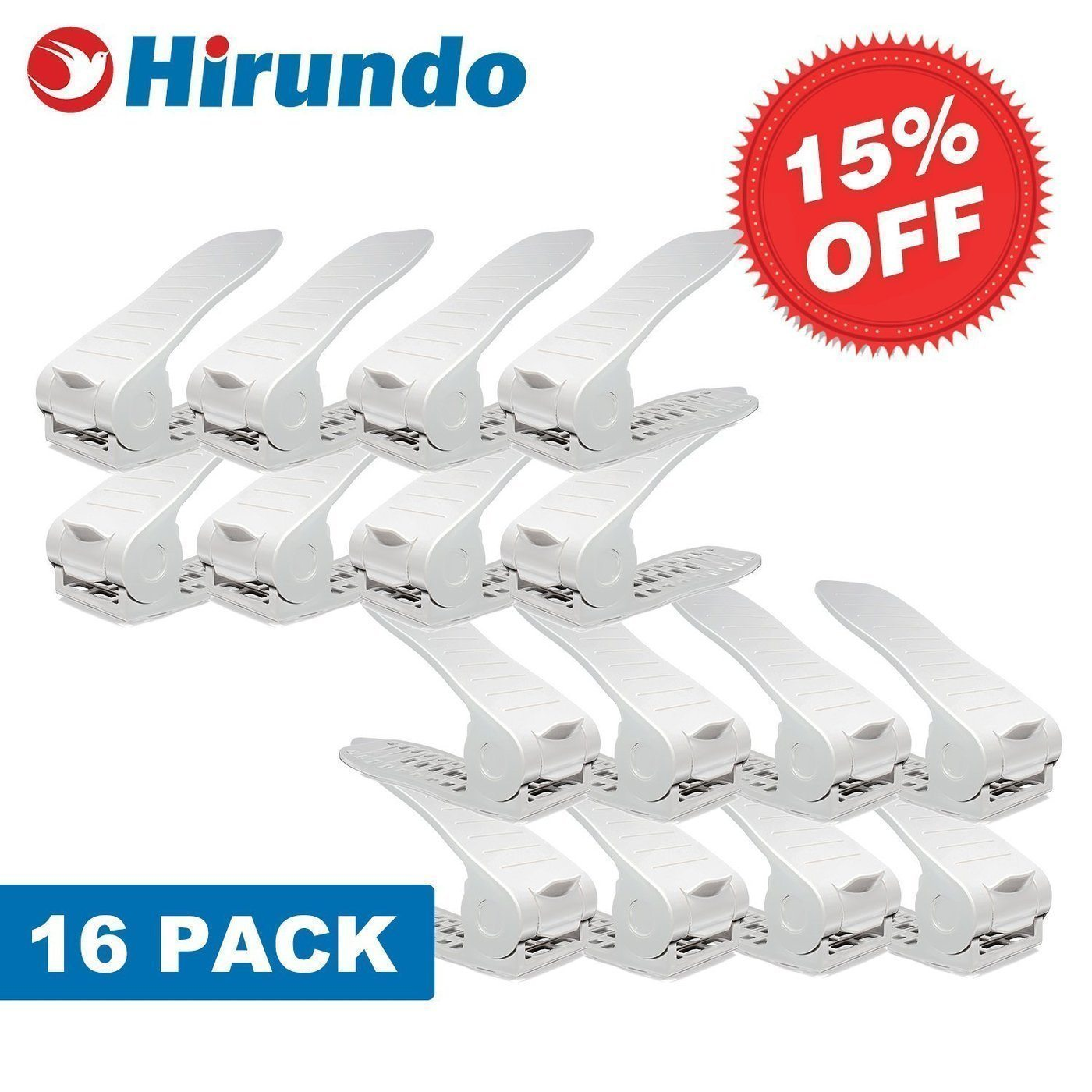 Hirundo Adjustable Shoe Rack Space Saver (White/Black)