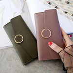 Load image into Gallery viewer, Women Long Pu Leather Zipper Metal Circle Decor Wallet
