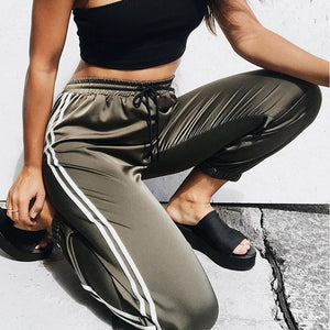 Women Joggers Casual Loose Side Striped Long Pants