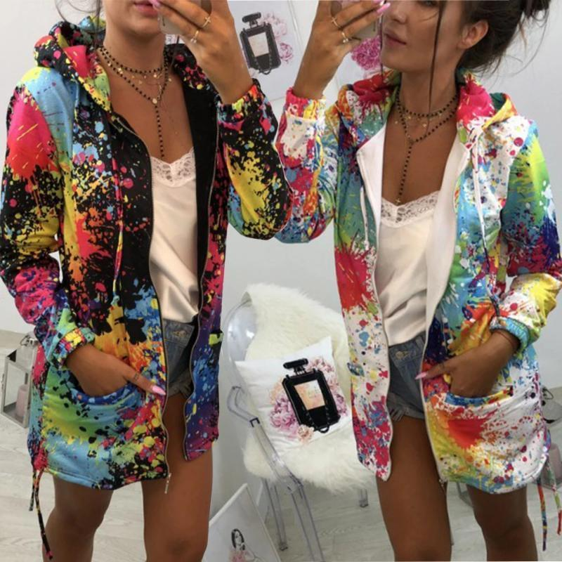 Womens Tie dyeing Print Feminino Casual Pockets Overcoat