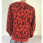 Load image into Gallery viewer, Women Long-sleeved Round Neck Solid Leopard Sweater