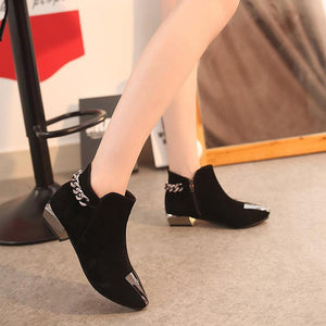 Women Med Square Heel Metal Decoration Ankle Boots