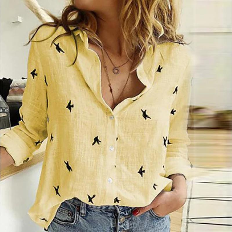 Women Floral Print Sexy Turn-down Collar Button Blouse
