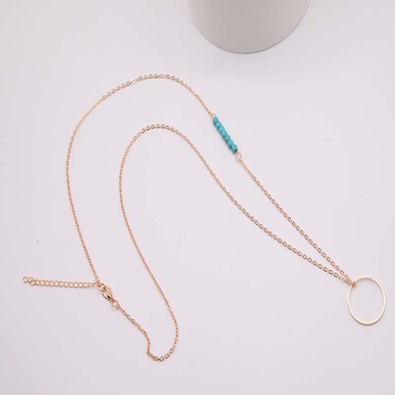 Women Fashion Plated Metal Chain Circle Lariat Long Necklace