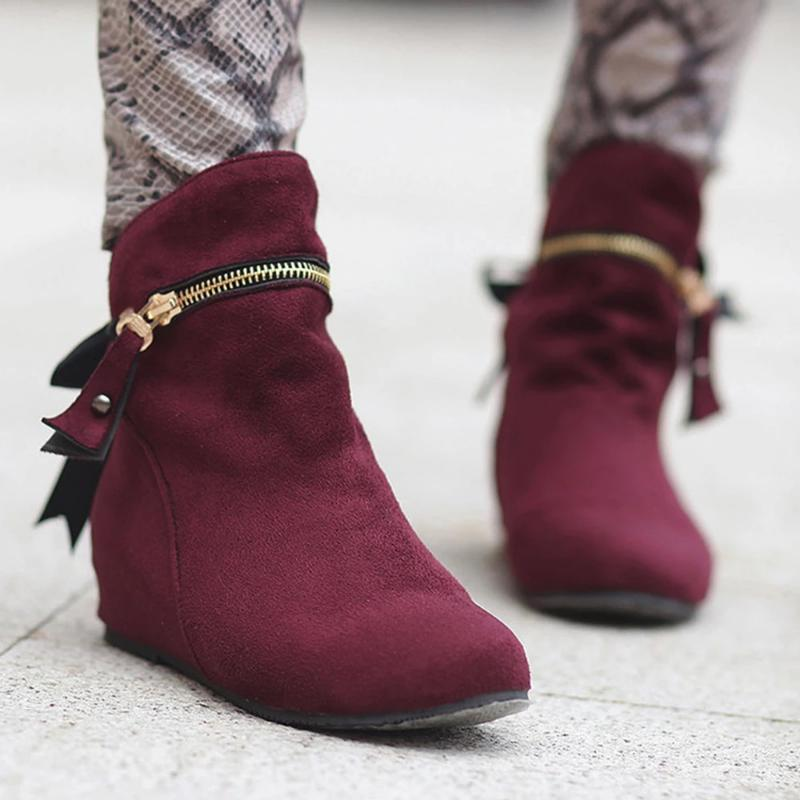 Women Wedges Winter Zipper Casual Boots