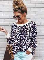 Load image into Gallery viewer, Leopard Streetwear Round Neckline Sweatshirts TOPS.FL