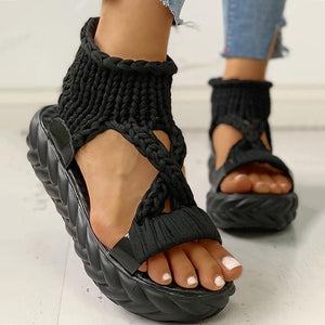Woven fabric thick sole sandals