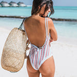 Load image into Gallery viewer, Vintage Stripe Floral One-Piece Swimsuit