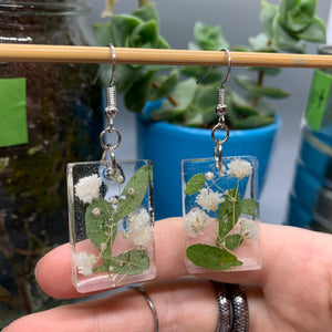 Floral Resin Earrings - Rose Petals & Baby's Breath