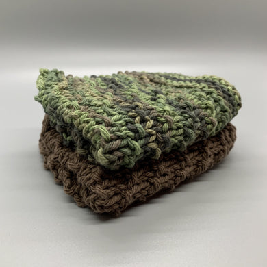 Dishcloth set - Brown & Green