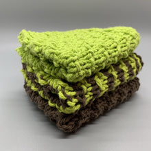 Load image into Gallery viewer, Dishcloth set - Lime Green & Brown