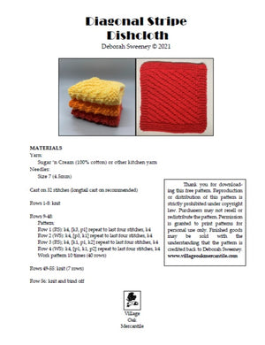 Diagonal Stripe Dishcloth