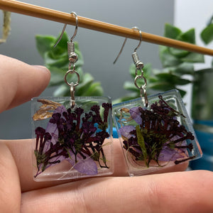 Floral Resin Earrings - Chamomile & Lavender