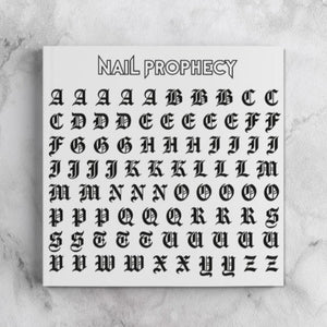 OLD ENGLISH LETTERING ALPHABET nail water decals