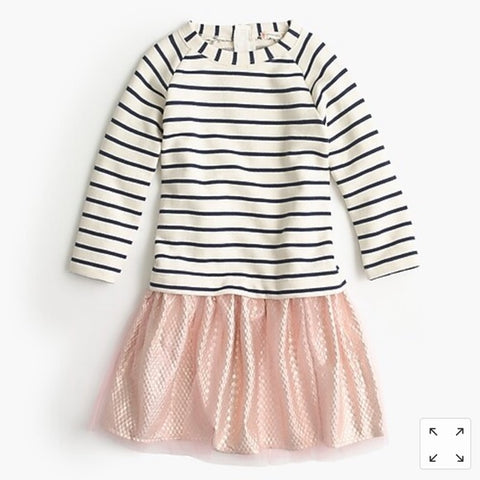 Crewcuts Girls size 8 tulle dress long sleeved striped