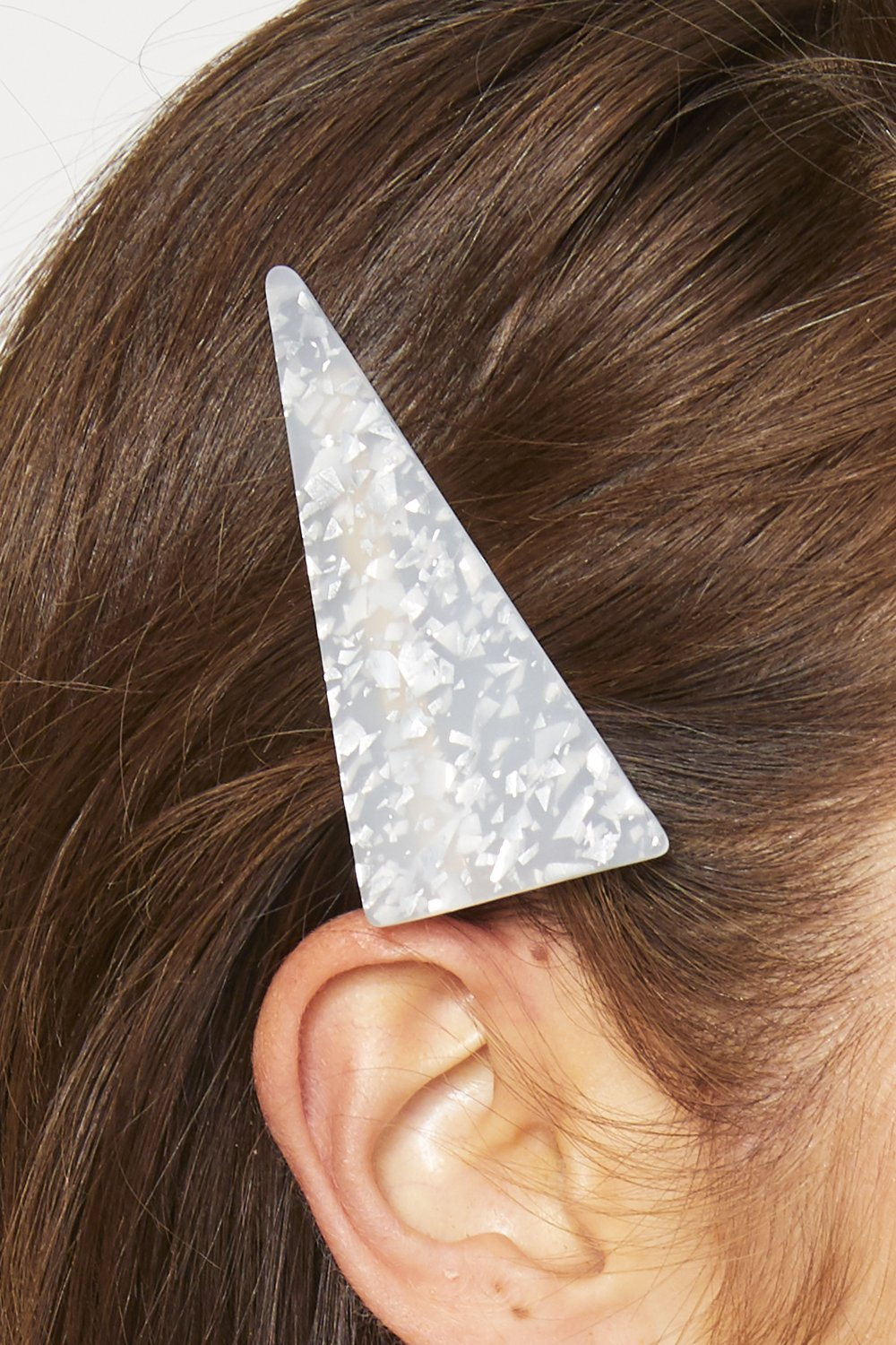 Calabria Hair Clip - White Granite