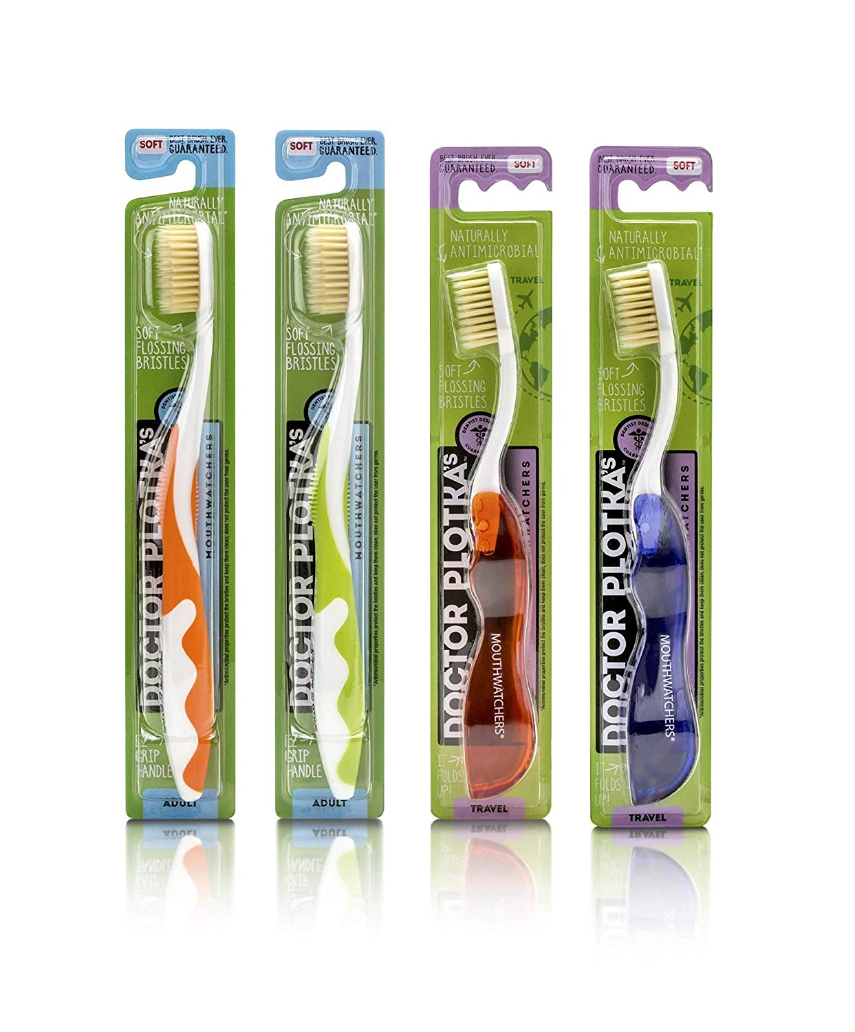2 Adult Manual Toothbrushes and 2 Travel Toothbrushes