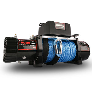 X-BULL Electric Winch 12V Synthetic Rope 13000 lb Load Capacity Blue Rope