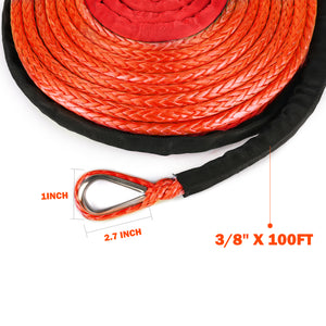 "Dyneema Synthetic Winch Rope(Orange) SK75 3/8"" x 100ft"