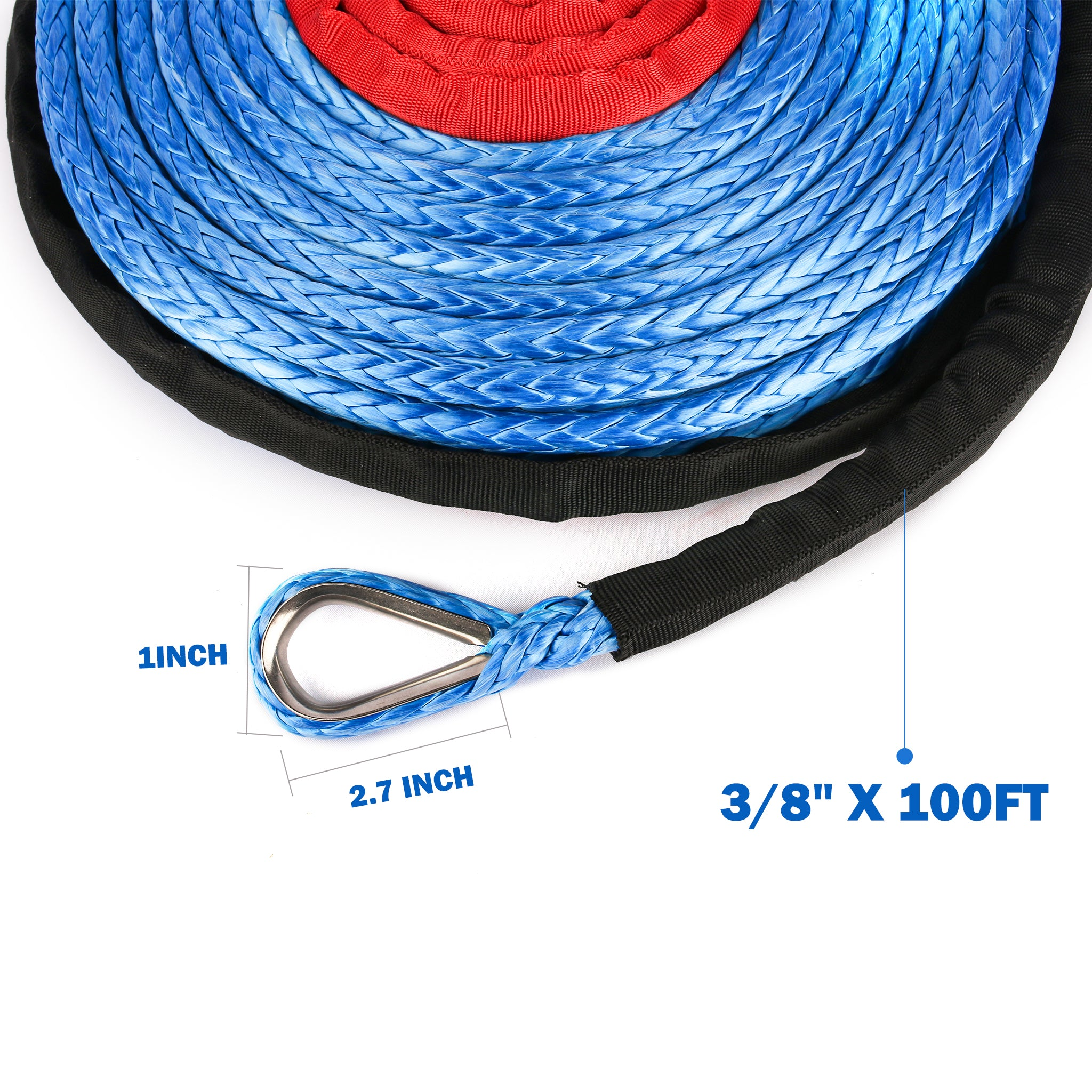 Blue X-BULL SK75 3//8 x 100ft Dyneema Synthetic Winch Rope with Hook Car Tow Recovery Cable(23,809 Lbs,Blue)