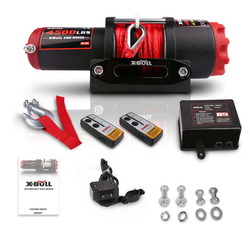 X-BULL 4500LBS 2041KG Load Capacity Synthetic Wire Rope 12V ATV Electric Winch Wireless Remote Typs H