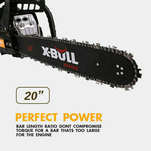 "X-BULL 62cc Chainsaw 20"" Bar Gasoline Powered Chain Saw Engine Cutting 2 Cycle."