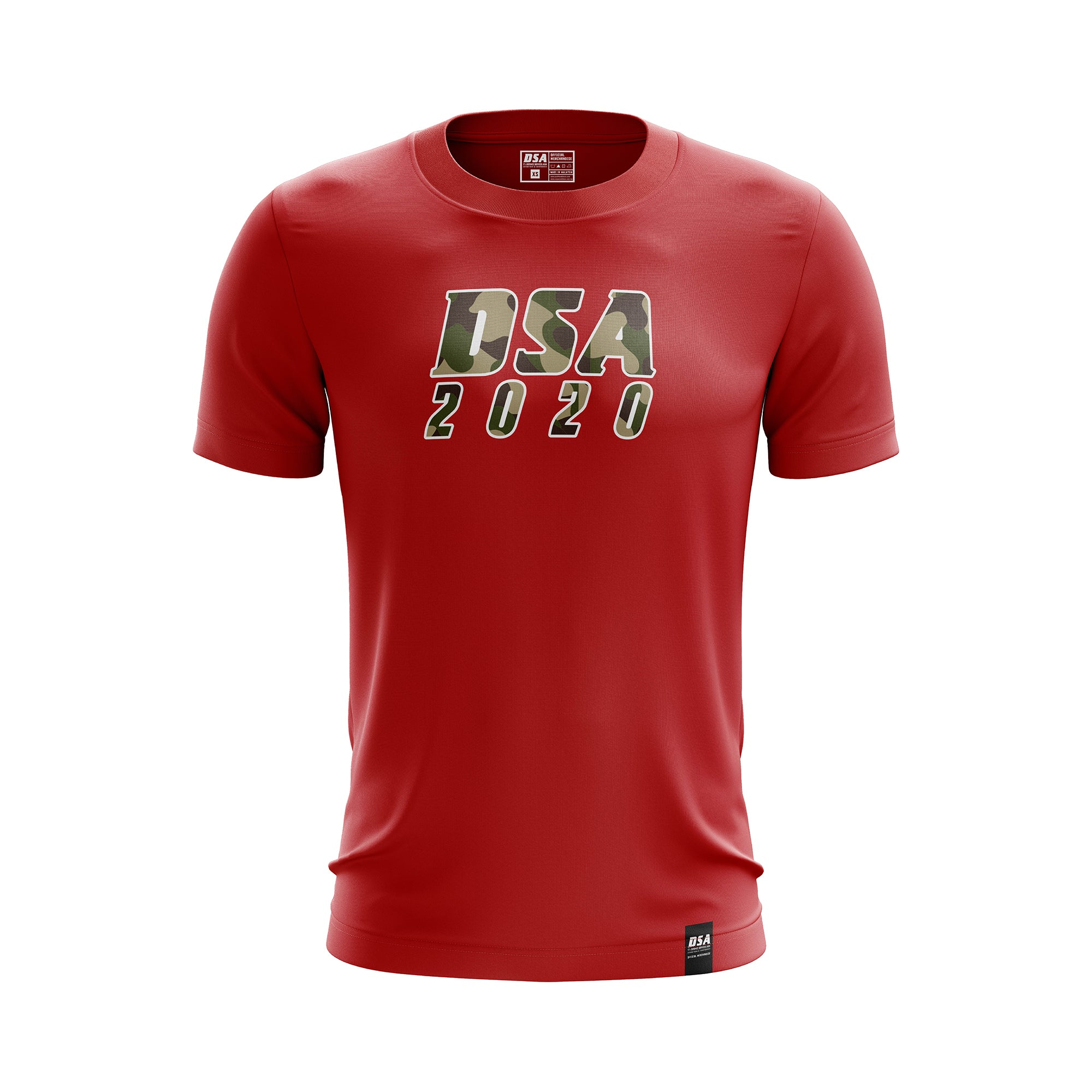 DSA Camouflage Effect Comfort Round Neck T-Shirt Red - DSA 2020 Official Merchandise