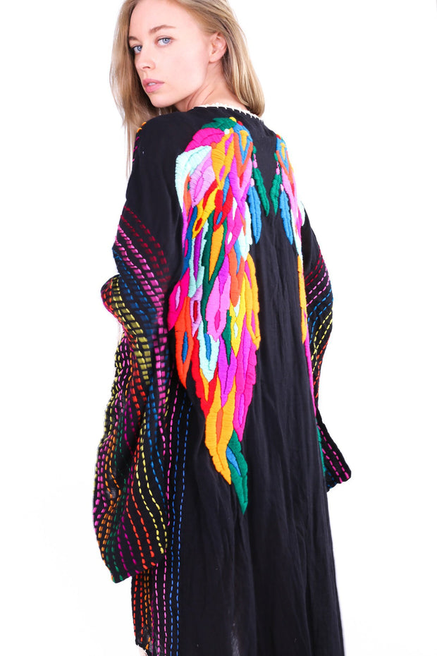 ANGEL WINGS EMBROIDERED CROCHET KIMONO BILA - MOMO NEW YORK