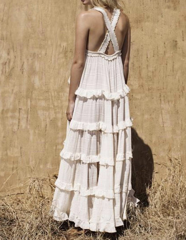 BACK CROSS STRAP MAXI DRESS STINYA - MOMO NEW YORK