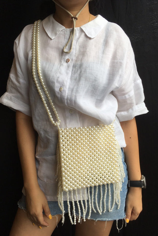 Beaded Fringe Bag Sally MOMONEWYORK