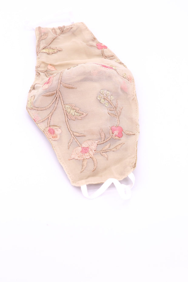 BEIGE CHIFFON SILK FACE MASK HANNAH MOMO NEW YORK