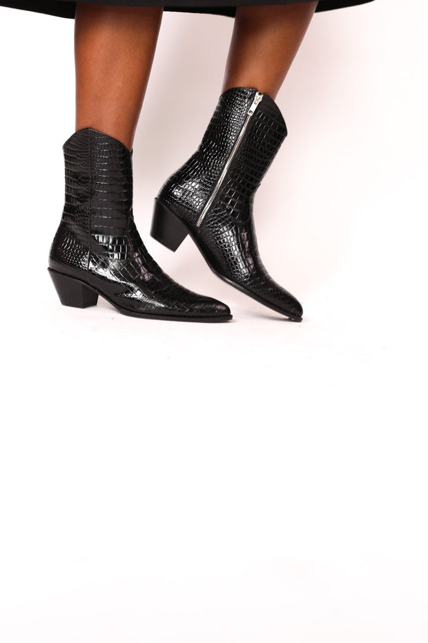 BLACK CROCODILE EMBOSSED MID HIGH BOOTS FLOR - MOMO NEW YORK