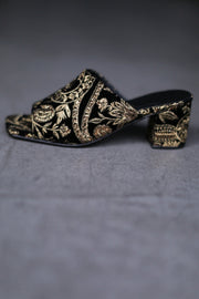 BLACK GOLD VELVET EMBROIDERED MULES LULU MOMO NEW YORK