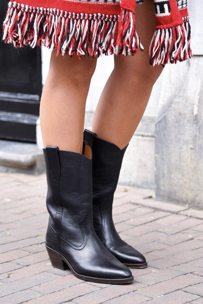 BLACK LEATHER BOOTS MARIE ANTONIETTE - MOMO NEW YORK