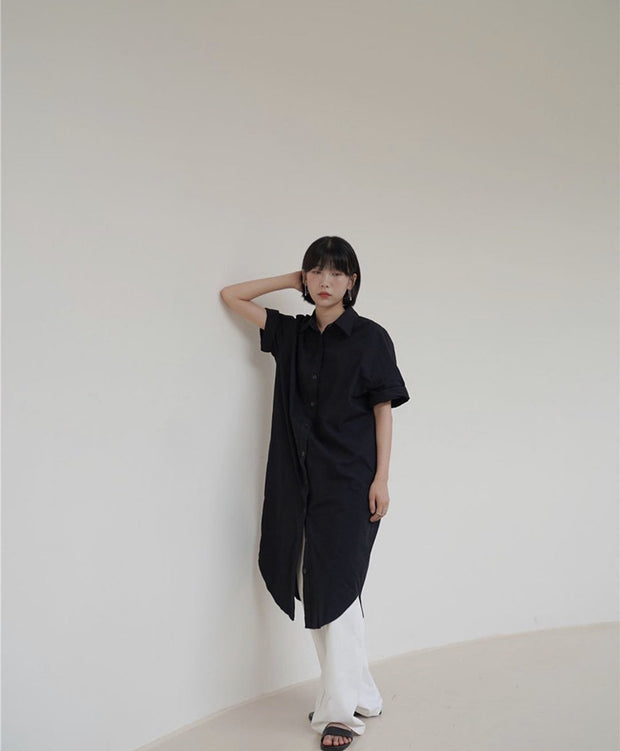 BLACK SHORT SLEEVE BUTTON DOWN DRESS SAMMY - MOMO NEW YORK