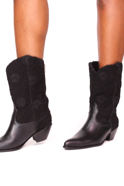 BLACK SILK COTTON EMBROIDERED LEATHER BOOTS DORO - MOMO NEW YORK