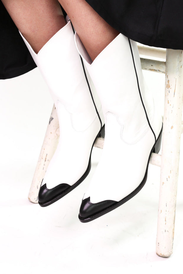 BLACK WHITE CLEAN COWBOY BOOTS CHARLY - MOMO NEW YORK