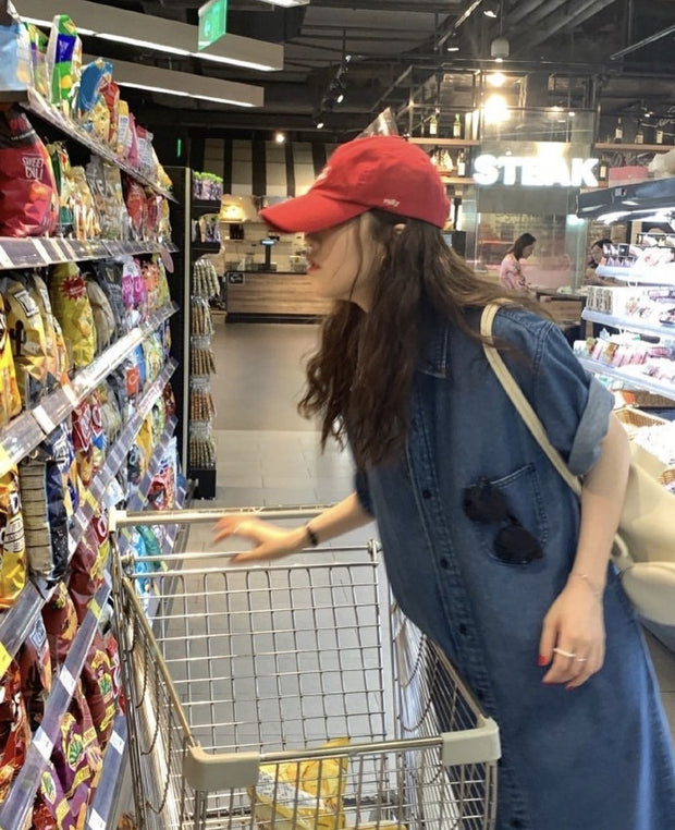 BLUE DENIM GROCERY SHOPPING SATURDAY DRES BIA - MOMO NEW YORK