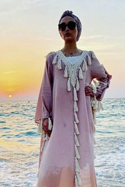 BOHO CROCHET POM POM TASSEL BEACH CAFTAN DRESS MARLY - MOMO NEW YORK