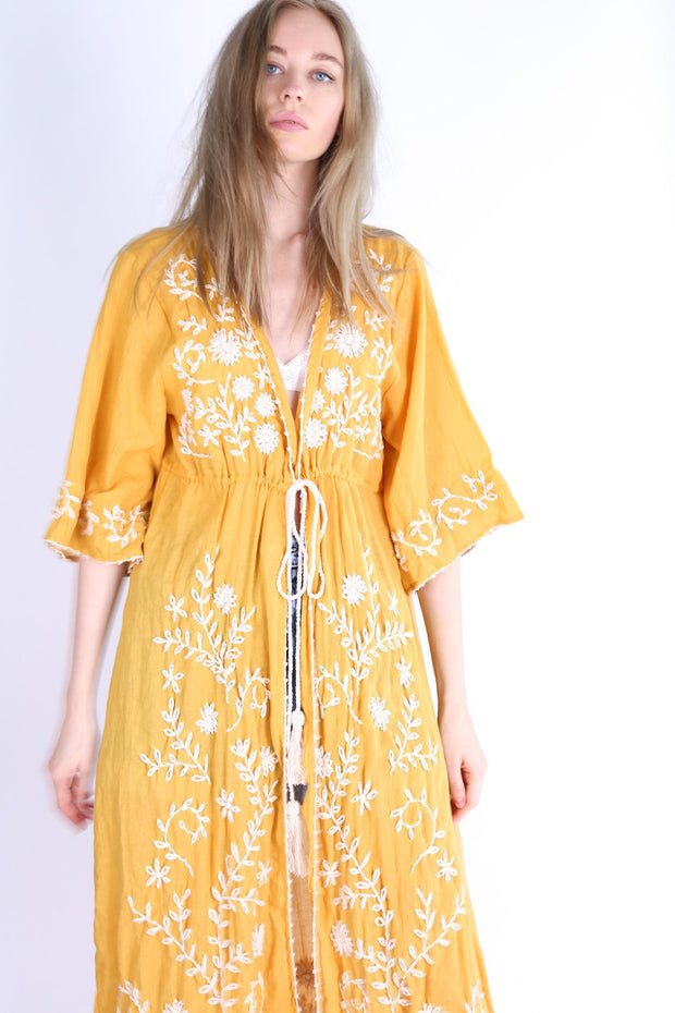 CALIFORNIA LOVE MIA EMBROIDERED KIMONO DUSTER MOMO NEW YORK