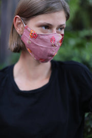 CHIFFON / COTTON EMBROIDERED FACE MASK MONA MOMO NEW YORK