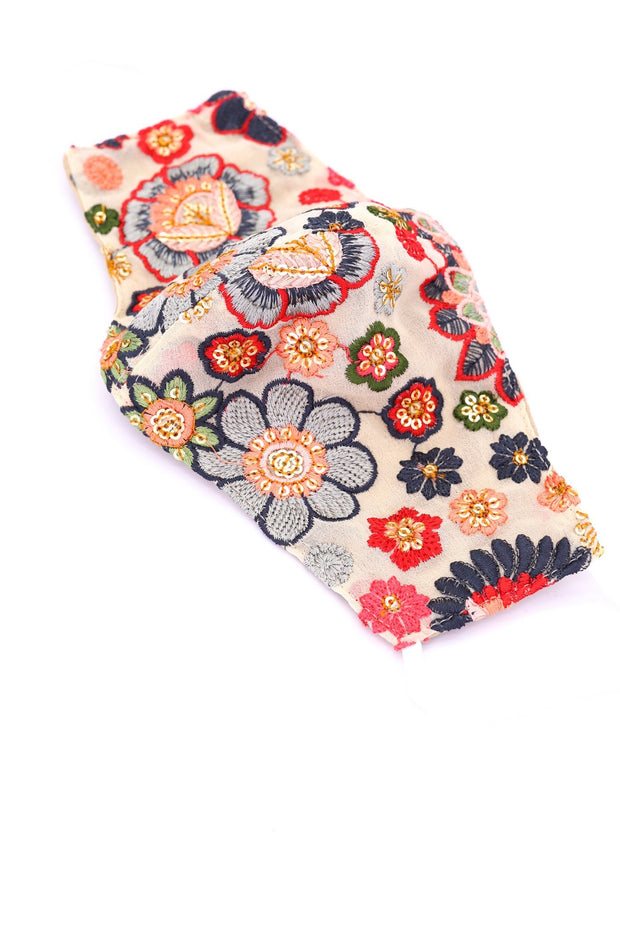 CHIFFON SILK COTTON EMBROIDERED FACE MASK JAX MOMO NEW YORK