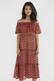 CHIFFON SILK DRESS HILLARY MOMO NEW YORK