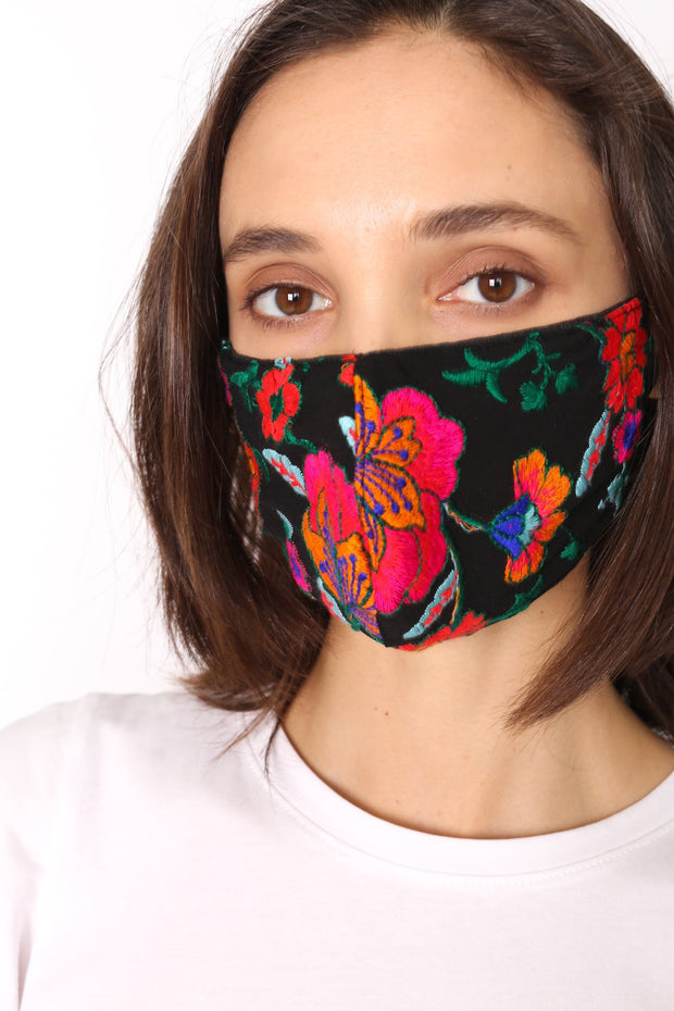 CHIFFON SILK EMBROIDERED FACE MASK LATA - MOMO NEW YORK