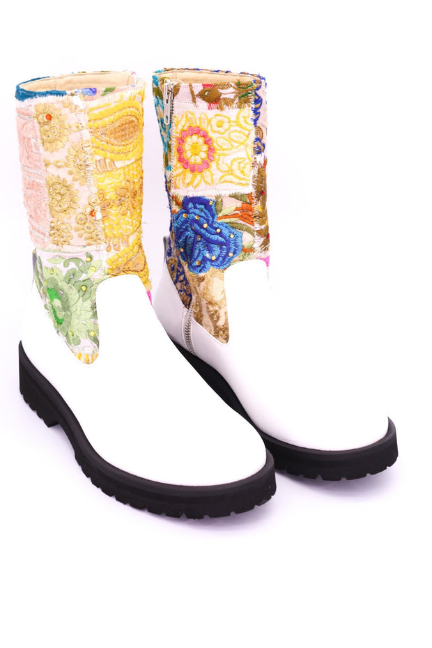 CHUNKY BOOTS EMBROIDERED PATCHWORK FREJA - MOMO NEW YORK