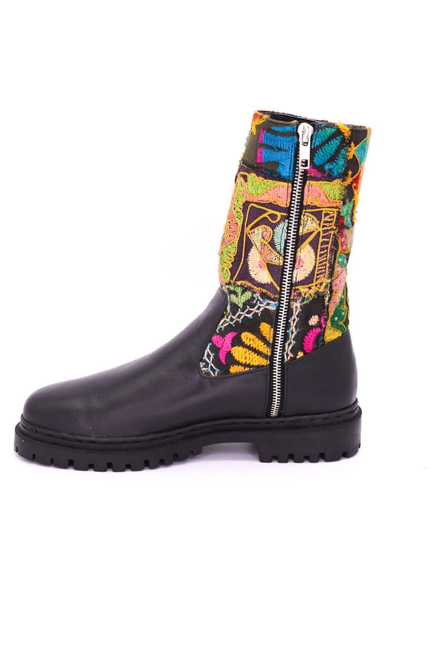 CHUNKY BOOTS EMBROIDERED PATCHWORK FREJA MOMO NEW YORK.