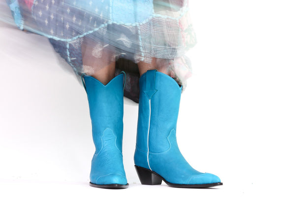 CLEAN TURQUOISE COWBOY BOOTS CARLEY MOMO NEW YORK