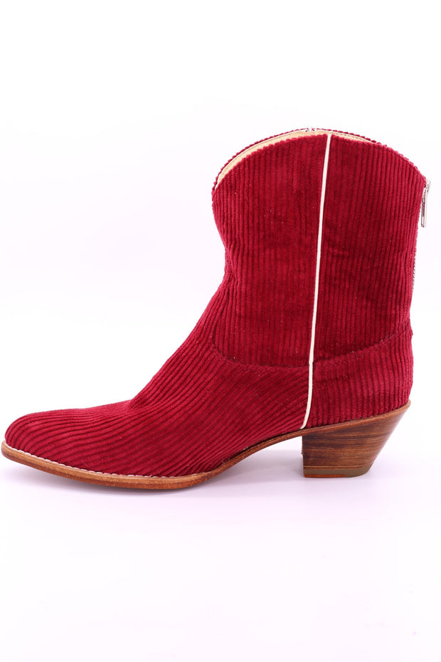CORDUROY RED BOOTIES LINNEAH - MOMO NEW YORK