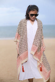 COTTON BLOCK PRINT CARDIGAN ANIKA MOMO NEW YORK