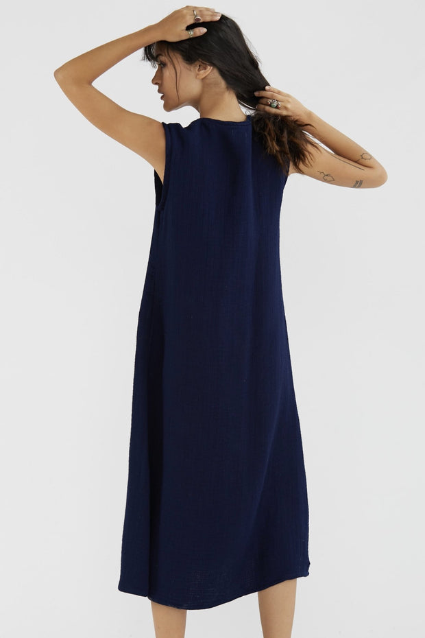 COTTON DRESS KAREN - Indigo Blue MOMO NEW YORK